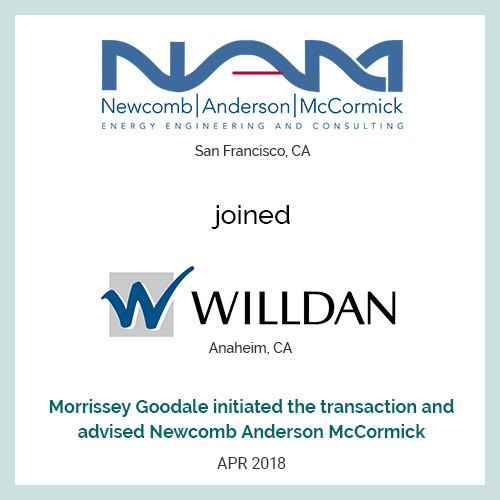 Industry leader Willdan Group (Anaheim, CA) (ENR #58) acquired Newcomb Anderson McCormick (San Francisco, CA)