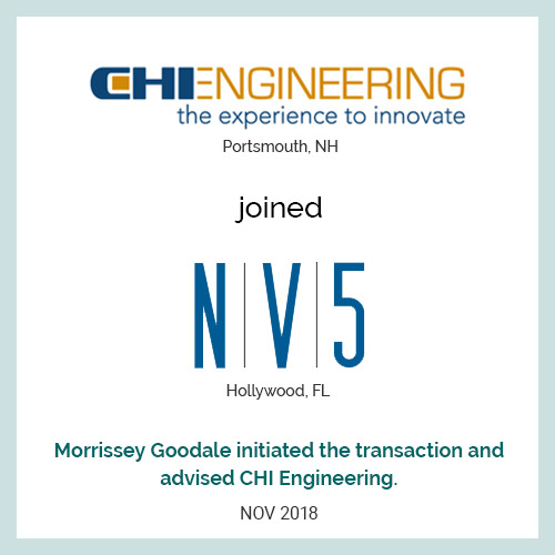 CHI Engineering (Portsmouth, NH) joined NV5 (Hollywood, FL)