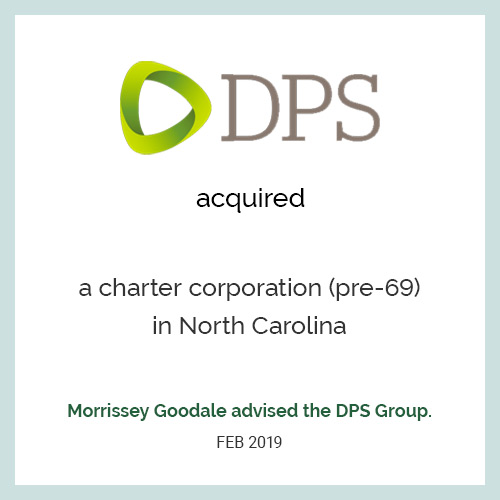 DPS acquired a charter corporation (pre-69) in North Carolina