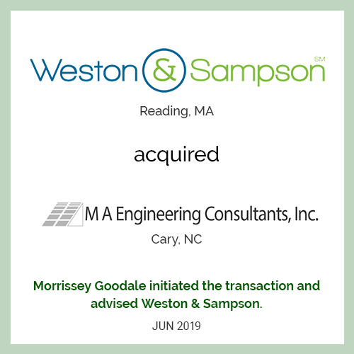 Weston & Sampson acquired MA Engineering Consultants, Inc.